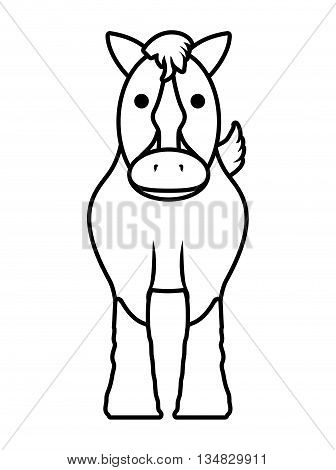 Animal  represented by horse icon over flat and isolated background