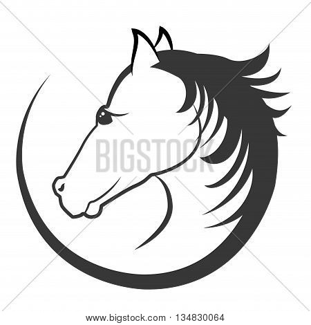 Horse and equine lifestyle concept represented by farm animal icon over flat and isolated background