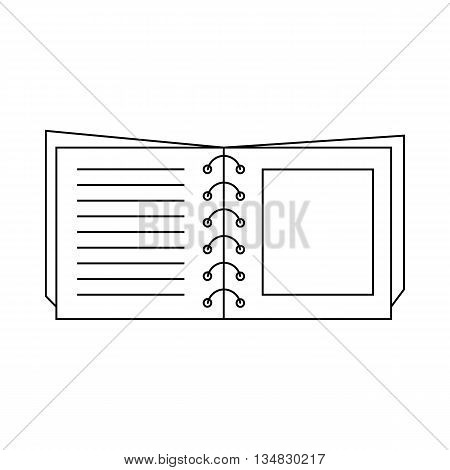 Book on spirals icon in outline style isolated on white background. Reading symbol