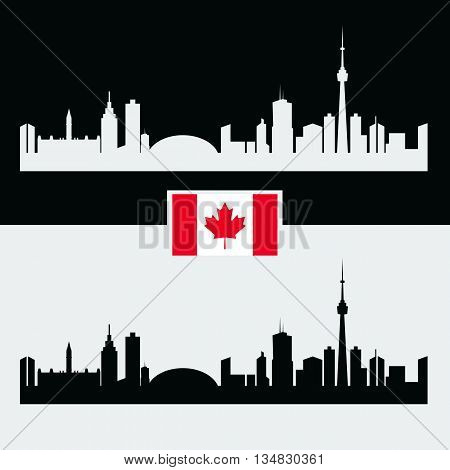 Canada silhouette with Canadian famous city buildings. Black and white and Flag of Canada