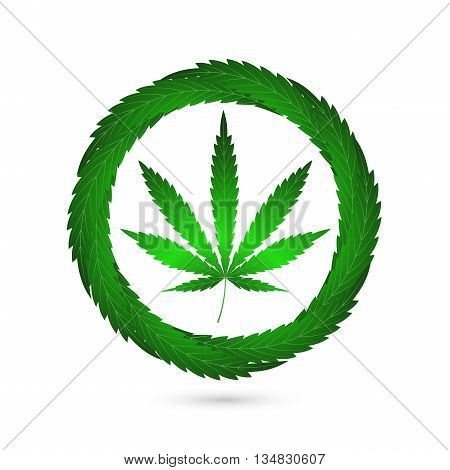 On the image is presented icon cannabis leaf pharmaceutical symbol
