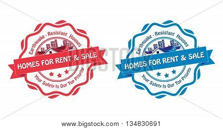 Homes for rent and sale. Earthquake resistant houses. Your safety is our priority - set of blue and red labels / stamps for real estate agencies. Print colors used