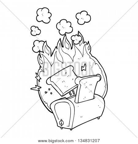 freehand drawn black and white cartoon burning toaster