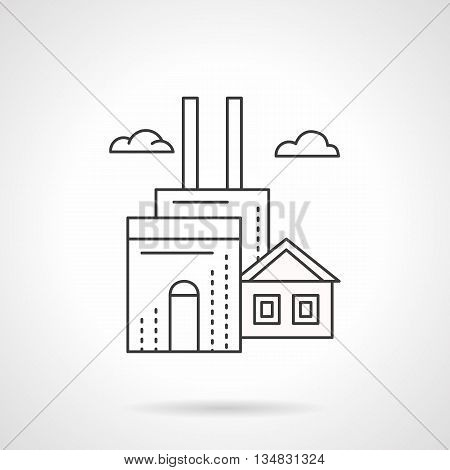 Industrial buildings and facilities. Manufacturing factory with two chimneys and clouds. Environment pollutions concept. Flat line style vector icon.