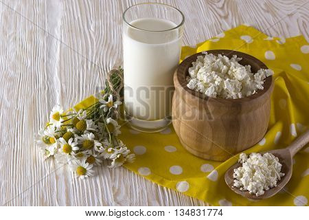 Cottage cheese, glass with milk and chamomile flowers on wooden background
