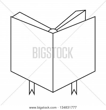 Book cover with bookmark icon in outline style isolated on white background. Reading symbol