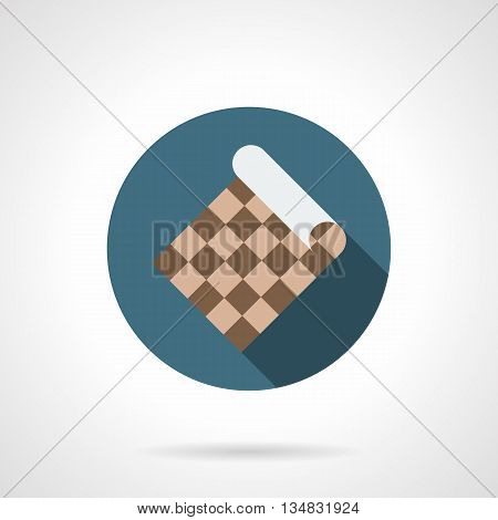 Brown tile linoleum rolled sheet. Floor covering for household and living areas, hallways, kitchens, bathrooms. Construction and renovation services. Round flat color style vector icon.