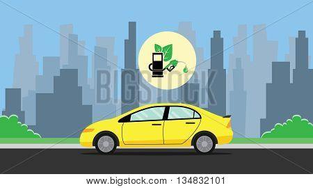 biofuel green with leaf with car on the way background city vector graphic illustration