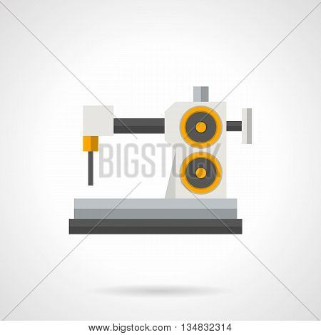 Industrial sewing machine. Factory manufacture fashion clothing, tailor workplace equipment. Flat color style vector icon.