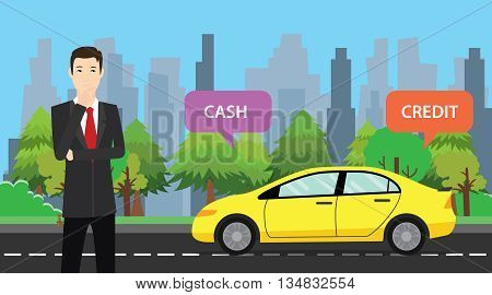a businessman choose between cash or credit to buy his car vector graphic illustration