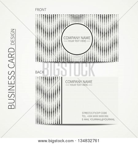 Vector simple business card design. Template. Black and white. Business card for corporate business and personal use. Calling card. Geometric pattern. Randomly disposed spots. Polka dot.