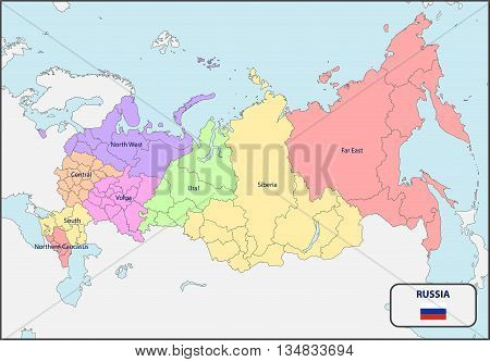 Illustration of a Political Map of Russia with Names