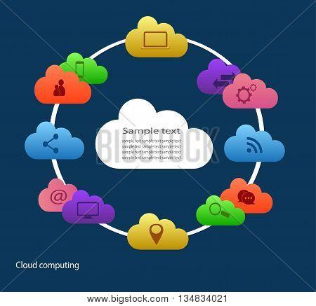 cloud computing for web design blue color