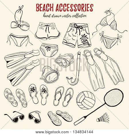 Hand drawn swimsuits flippers and flip flops collection. Set of beach accessories in sketch style.