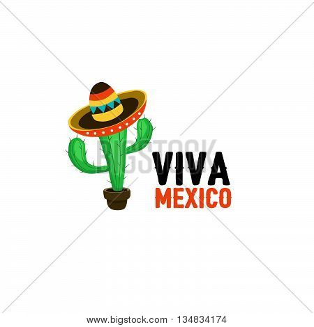 Funny cactus in mexican hat vector illustration. Cartoon cactus in sombrero with text. Viva mexico slogan isolated on white background.