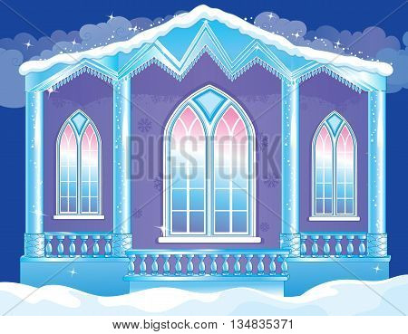 Vector illustration of fairytale brilliant facade of the ice royal palace
