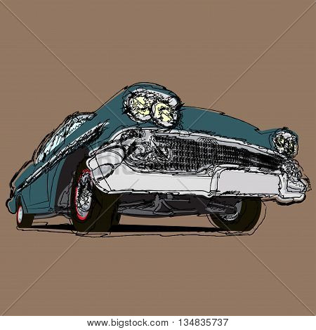 Vintage muscle cars cartoon sketch print illustration