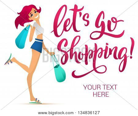 Shopping girl illustration. Cartoon girl holding shopping bags. Brush-lettering modern text isolated on white background.