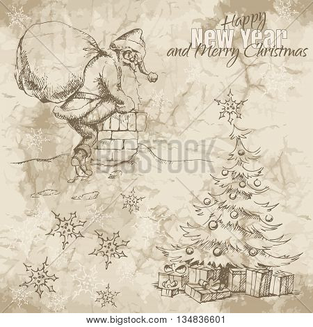 Hand drawn sketches of Santa Claus climbing the chimney and christmas tree with gifts under it on the old paper background.