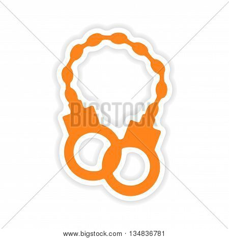 icon sticker realistic design on paper handcuffs