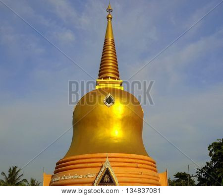 Stupa, or chedi tower of Buddhist temple in Narathiwat, Thailand