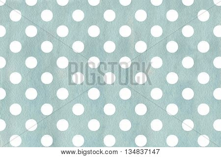 White Dots On Blue Watercolor Background.