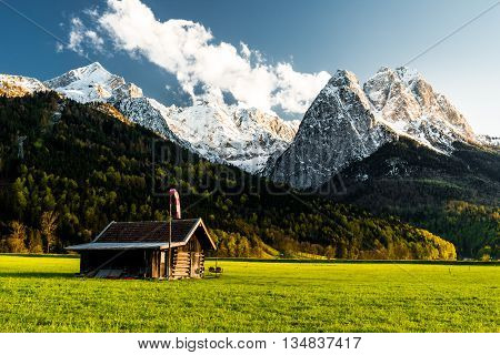 cabin in front of zugspitze waxenstein h llental garmisch