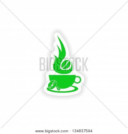 icon sticker realistic design on paper coffee aroma