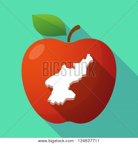 Long Shadow Red Apple Icon With  The Map Of North Korea