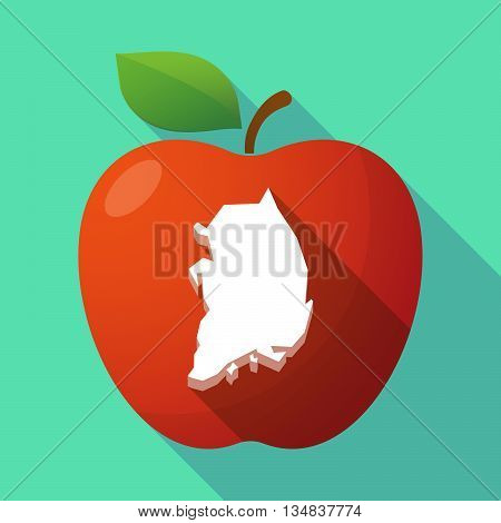 Long Shadow Red Apple Icon With  The Map Of South Korea