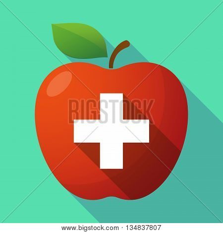 Long Shadow Red Apple Icon With   The Swiss Flag