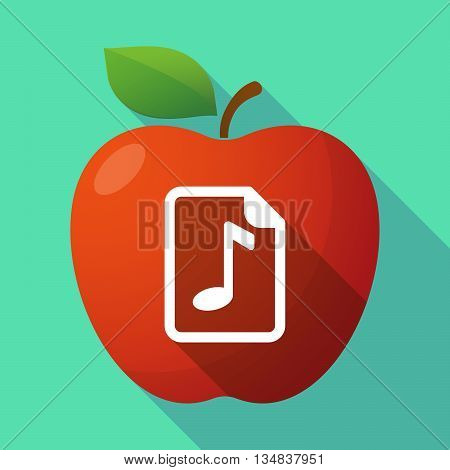 Long Shadow Red Apple Icon With  A Music Score Icon