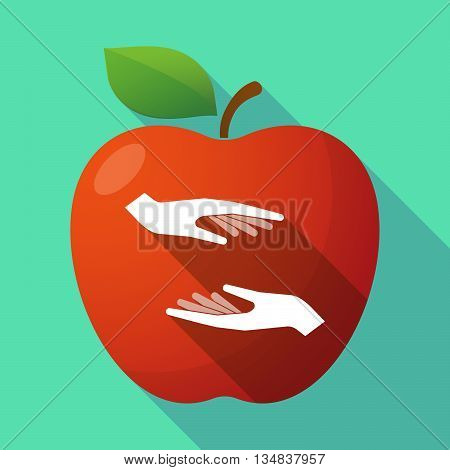 Long Shadow Red Apple Icon With  Two Hands Giving And Receiving  Or Protecting