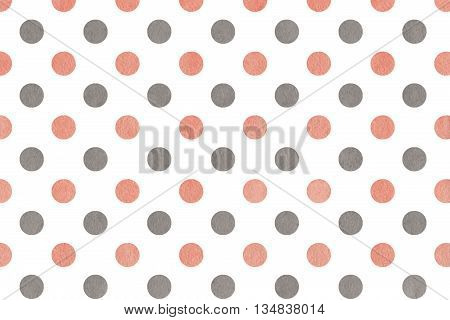 Watercolor Pink And Grey Polka Dot Background.