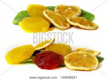 frozen fruit lemon juice frozen ice cubes isolated on white background. Feminine beauty and cosmetics concept