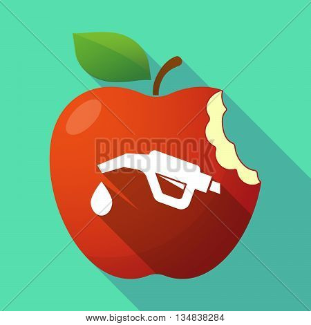 Long Shadow Red Apple Icon With  A Gas Hose Icon