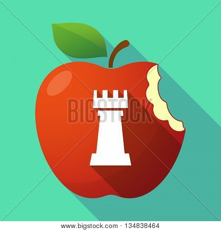 Long Shadow Red Apple Icon With A  Rook   Chess Figure