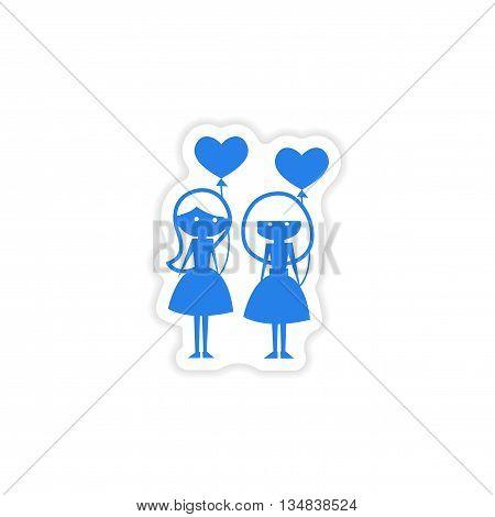 icon sticker realistic design on paper girlfriend balloons