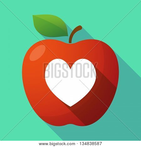 Long Shadow Red Apple Icon With  The Heart Poker Playing Card Sign