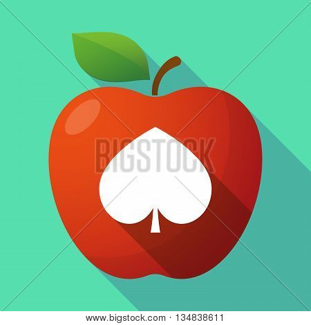 Long Shadow Red Apple Icon With  The  Spade  Poker Playing Card Sign