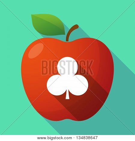 Long Shadow Red Apple Icon With  The  Club  Poker Playing Card Sign