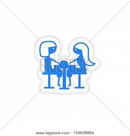 icon sticker realistic design on paper girlfriend lunch