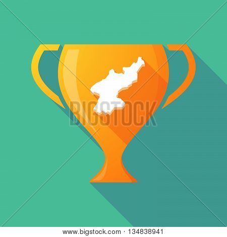 Long Shadow Award Cup Icon With  The Map Of North Korea