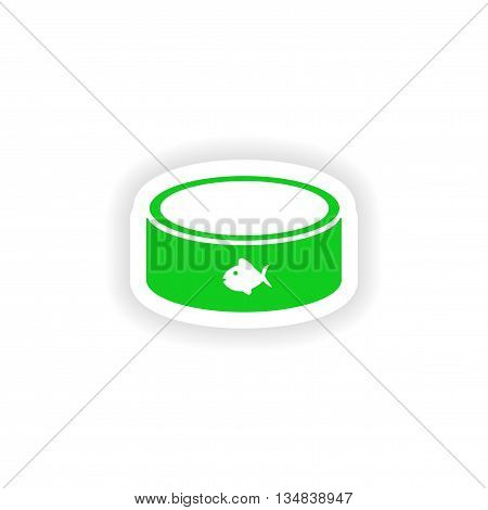 icon sticker realistic design on paper cat bowl