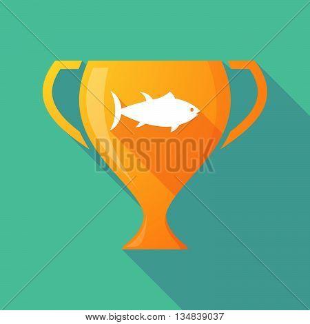 Long Shadow Award Cup Icon With  A Tuna Fish