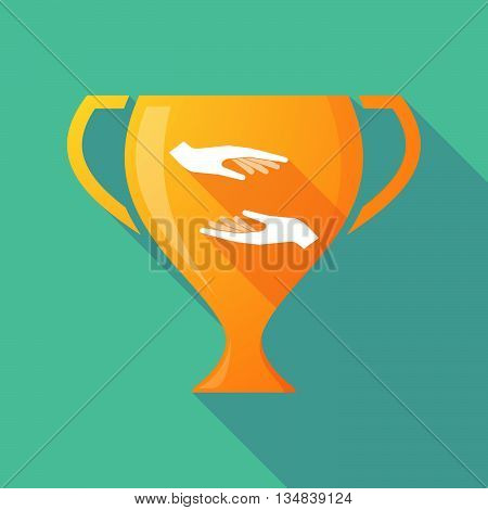 Long Shadow Award Cup Icon With  Two Hands Giving And Receiving  Or Protecting