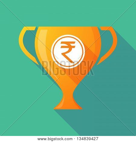 Long Shadow Award Cup Icon With  A Rupee Coin Icon