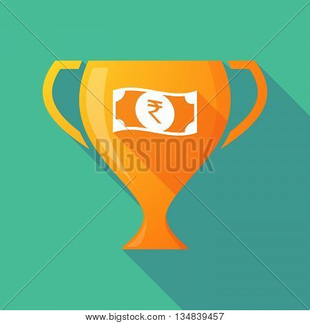 Long Shadow Award Cup Icon With  A Rupee Bank Note Icon
