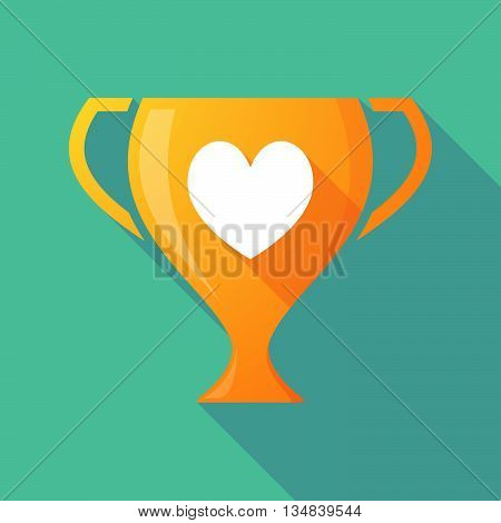 Long Shadow Award Cup Icon With  The Heart Poker Playing Card Sign