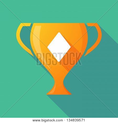 Long Shadow Award Cup Icon With  The  Diamond  Poker Playing Card Sign